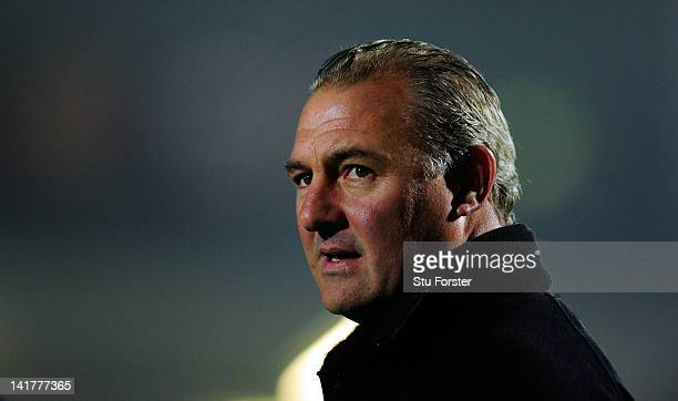 Falcons head coach Gary Gold looks on before the Aviva Premiership match between Worcester Warriors and Newcastle Falcons at Sixways Stadium on March...