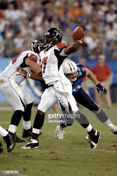 Falcons Michael Vick throws downfield during first half action between the Atlanta Falcons and the Tennessee Titans on August 26 2006 at The Coliseum...