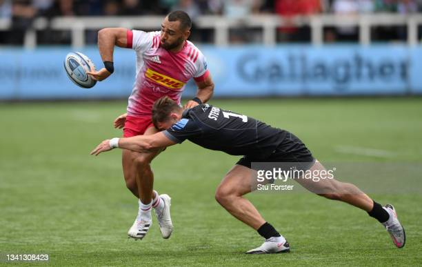 Falcons player Ben Stevenson tackles Joe Marchant of Harlequins during the Gallagher Premiership Rugby match between Newcastle Falcons and Harlequins...