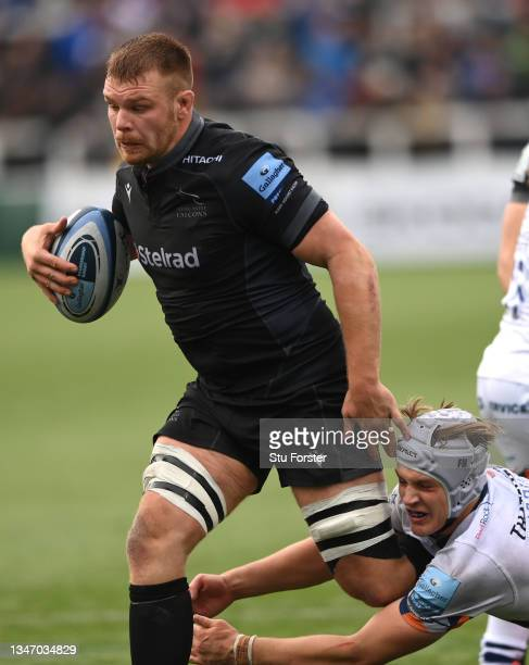 Falcons player Callum Chick in action during the Gallagher Premiership Rugby match between Newcastle Falcons and Bristol Bears at Kingston Park on...
