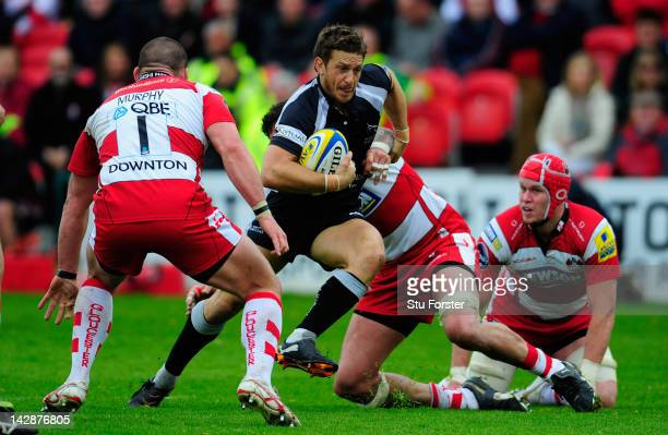 Falcons player Jimmy Gopperth slips a tackle to set up the Falcons first try during the Aviva Premiership match between Gloucester and Newcastle...