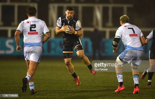 Falcons player Mark Wilson in action during the European Rugby Challenge Cup match between Newcastle Falcons AND Cardiff Blues at Kingston Park on...