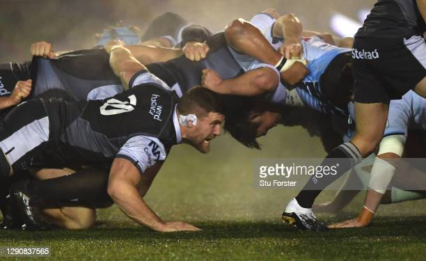 Falcons player Mark Wilson packs down at the scrum during the European Rugby Challenge Cup match between Newcastle Falcons AND Cardiff Blues at...
