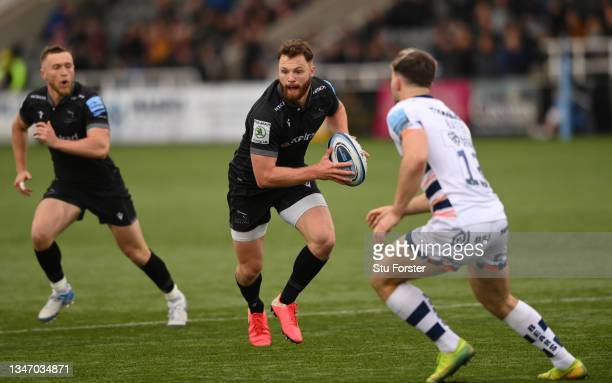 Falcons player Max Wright in action during the Gallagher Premiership Rugby match between Newcastle Falcons and Bristol Bears at Kingston Park on...