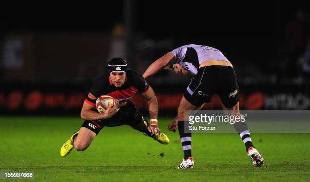 Falcons player Ryan Shortland in action during the RFU Championship match between Newcastle Falcons and Nottingham Rugby at Kingston Park on November...