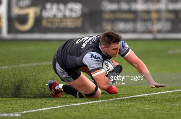 Falcons player Sean Robinson dives over the line to score the 4th Falcons try during the Gallagher Premiership Rugby match between Newcastle Falcons...