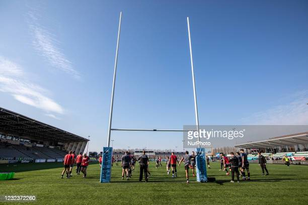 Falcons player warm up before the Gallagher Premiership match between Newcastle Falcons and Bristol at Kingston Park, Newcastle, England on 17th...