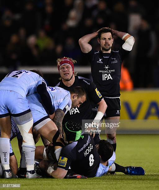 Falcons players Moritz Botha and Micky Young react on the final whistle after the 15-14 defeat by Worcester during the Aviva Premiership match...