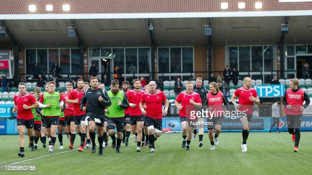 Falcons players take to the pitch for their final warm-up before the Gallagher Premiership match between Newcastle Falcons and Bristol at Kingston...