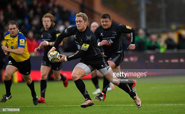 Falcons wing Alex Tait makes a break during the Aviva Premiership match between Newcastle Falcons and Harlequins at Kingston Park on December 4, 2016...