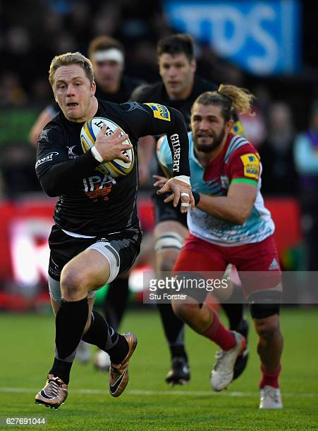 Falcons wing Alex Tait makes a break during the Aviva Premiership match between Newcastle Falcons and Harlequins at Kingston Park on December 4 2016...