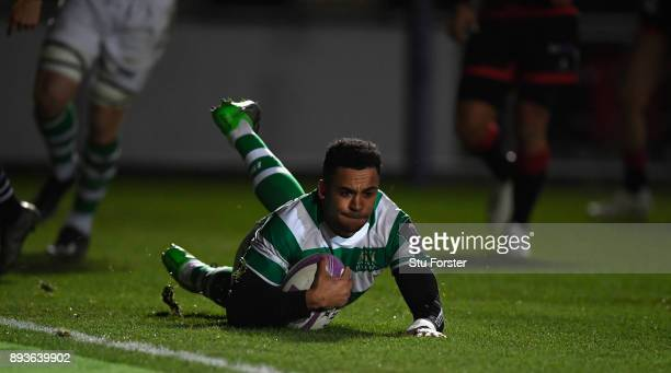 Falcons wing Zach Kibirige scores the second Falcons try during the European Rugby Challenge Cup match between the Dragons and Newcastle Falcons at...