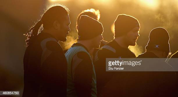 Falcons winger Alesana Tuilagi and team mates prepare for the match in the last of the winters day sun before the Aviva Premiership match between...