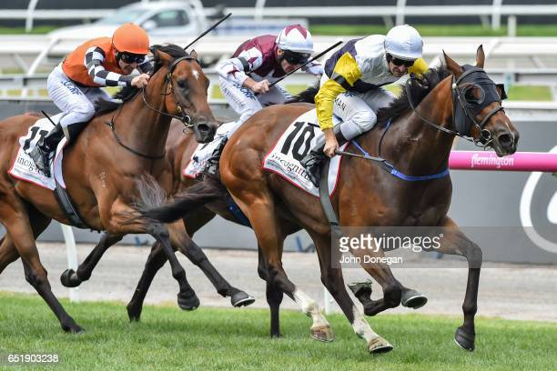 Falcool ridden by Hugh Bowman wins the Incognitus Stakes at Flemington Racecourse on March 11 2017 in Flemington Australia