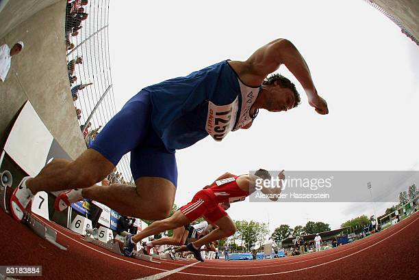 Falk Balzer competes in the men's 110m hurdles during the Track and Field German Championship on July 2 2005 in Bochum Germany