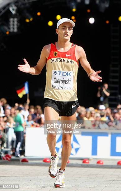 Falk Cierpinski of Germany finishes the men's Marathon Final during day eight of the 12th IAAF World Athletics on August 22 2009 in Berlin Germany