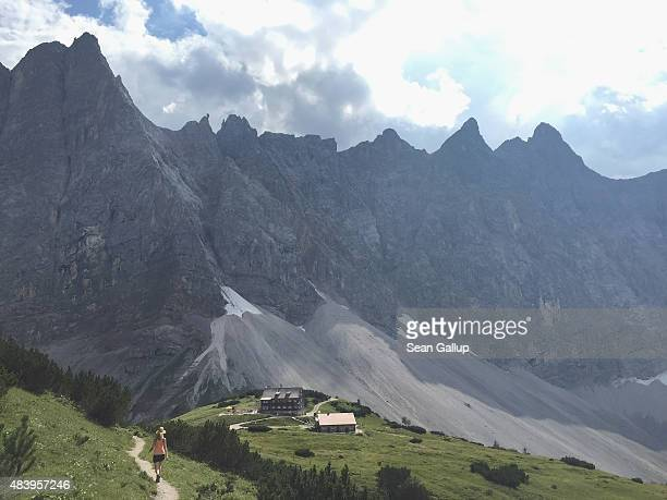Falkenhuette hut, a refuge for hikers and mountain bikers, stands in the Karwendel mountain range on August 8, 2015 near Herrenhaeuser, Austria. The...