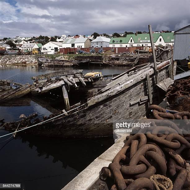 Falkland Islands Port Stanley shipwrecks in the port 2006