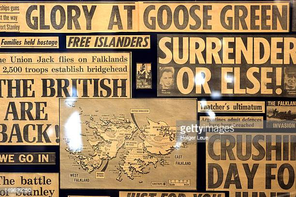 falkland war newspaper clippings, falkland islands museum. - falklands war stock pictures, royalty-free photos & images
