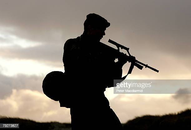 Falklands Islands Defence Force soldier takes part in a training exercise on Sapper Hill on February 1 2007 in Stanley Falkland Islands The volunteer...