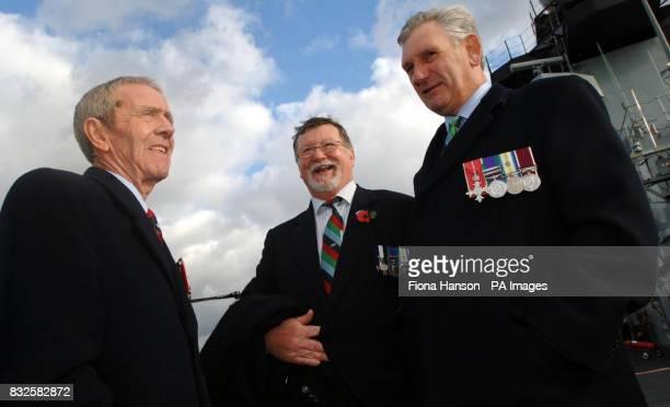 Falklands Veterans 3 Para RSM Laurie Ashbridge Royal Engineers Bomb Disposal Officer John Phillips and Welsh Guards Lieutenant Colonel Tony Davies on...