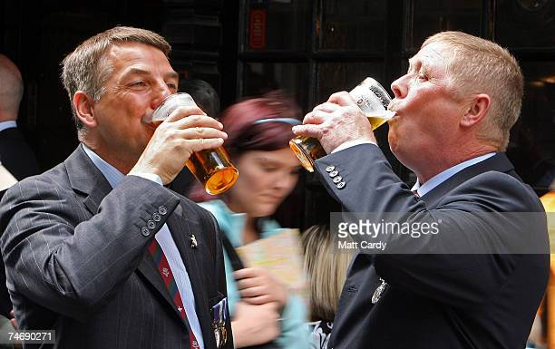 Falklands veterans Howard Foster and Alan Bell enjoy a pint outside a pub on June 17 2007 in London Today marks the final day of commemorations...