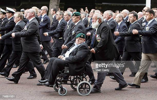 Falklands veterans march down The Mall as the finale to the days 25th anniversary commemorations June 17 2007 in London Today marks the final day of...