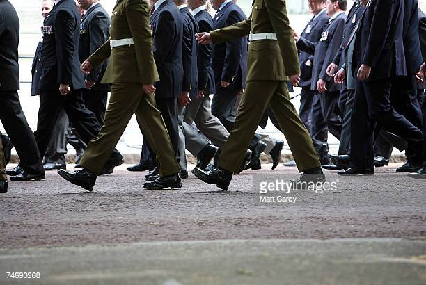 Falklands veterans walk to the parade ground June 17 2007 in London Today marks the final day of commemorations taking place in the United Kingdom...