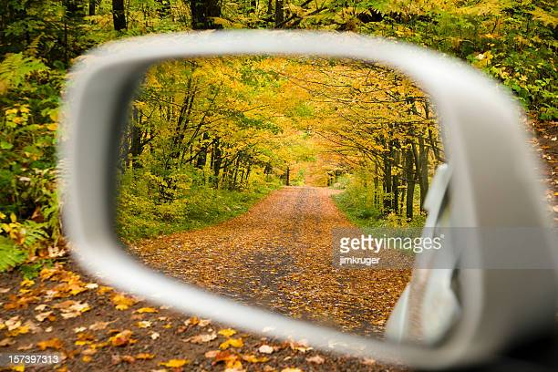 fall color driving. - side view mirror stock photos and pictures