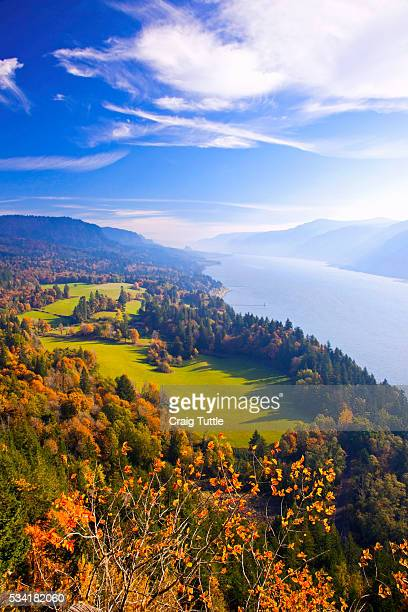 fall colors add beauty to cape horn, columbia river gorge national scenic area, washington state - columbia river gorge stock pictures, royalty-free photos & images