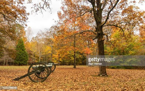 fall colors at shiloh national military park - battlefield stock pictures, royalty-free photos & images