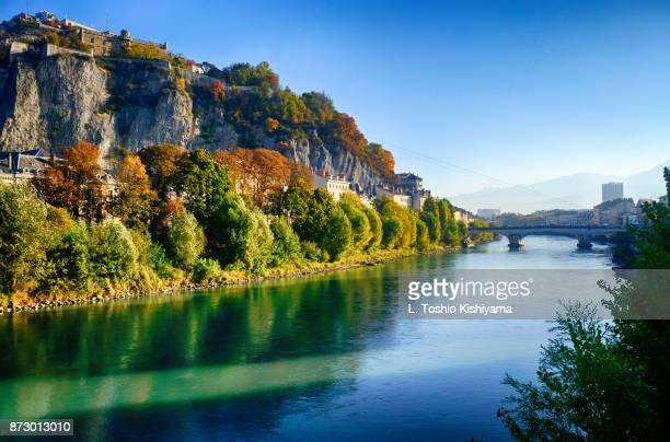 fall colors in grenoble, france. - イゼール県 ストックフォトと画像