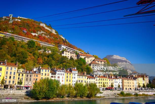 fall colors in grenoble, france. - auvergne rhône alpes stock photos and pictures