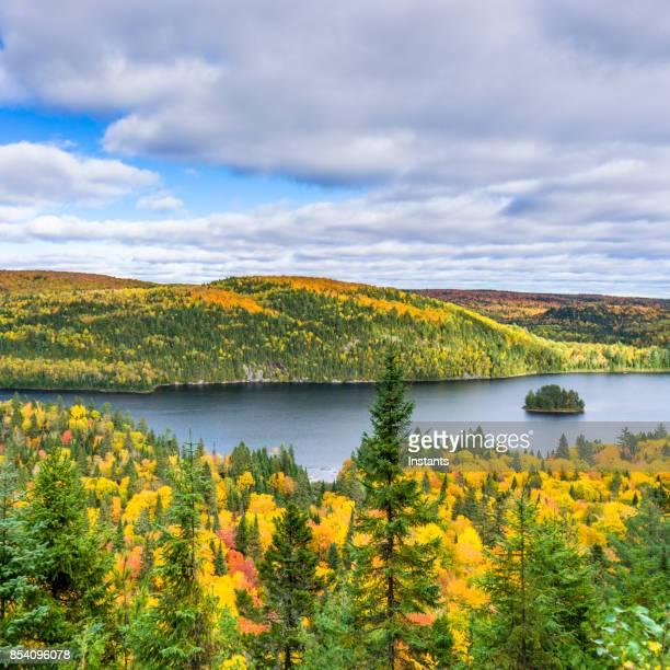 aux 端子 (松島)、ケベック、カナダの wapizagonke 湖とラ デ モン国立公園とそのイルに秋の色します。 - シャウィニガン ストックフォトと画像