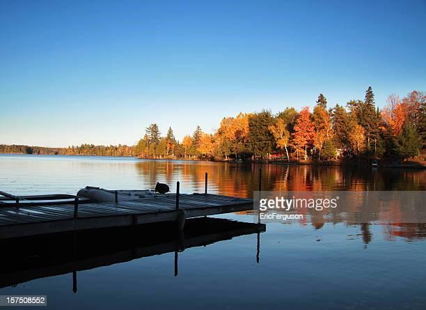 Fall cottage lake and dock