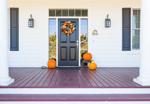 Fall Decoration Adorns Beautiful Entry Way To Home 1170008900