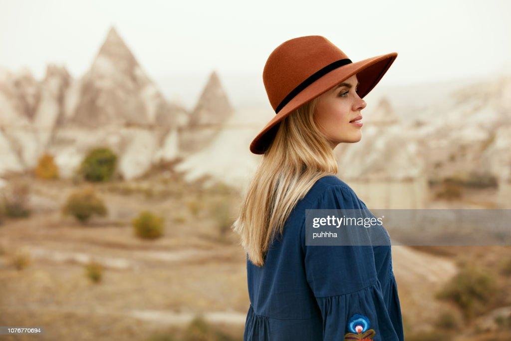 Fall Fashion. Beautiful Woman In Hat, Dress In Nature Portrait : Stock Photo