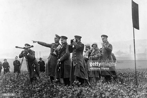 Fall German army manoeuvers attended by Marshal Paul Von Hindenburg in September 1930 in Roemhild Germany