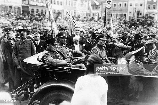 Fall German army manoeuvers attended by Marshal Paul Von Hindenburg here arriving in Konigshaven in September 1930 in Germany