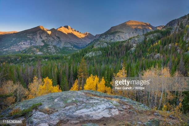 fall in rocky mountain national park - front range mountain range stock pictures, royalty-free photos & images