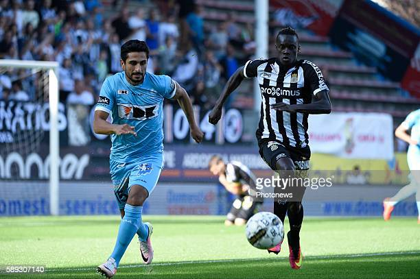 Fall Mamadou of Charleroi and Kenneth Saief midfielder of KAA Gent pictured during Jupiler Pro League match between RCS Charleroi and KAA Gent on...