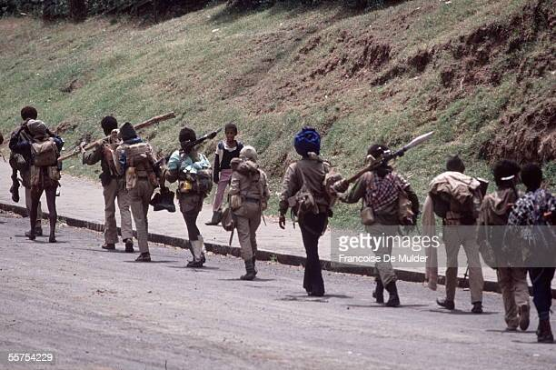 Fall of Addis Ababa Fighters of the FDRPE revolutionary democratic Forehead of the Ethiopian people arriving towards the Palace of the Government On...
