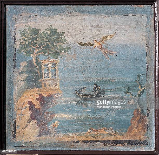 Fall of Icarus by unknown artist 4579 1st Century AD ripped fresco 36 x 37 cm Italy Campania Naples National Archaeological Museum Room LXXIII inv...
