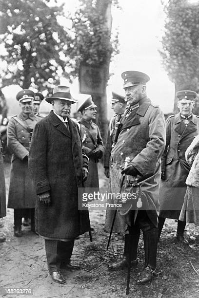 Fall of the German army manoeuvers attended by Marshal Paul Von Hindenburg and Reich Minister of Defense Wilhelm Groener in September 1930 in...