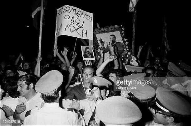 Fall of the Greek military junta in Athens, Greece on July 24, 1974 - Joy exploded in the Greek capital as the people greeted the end of the 'Reign...