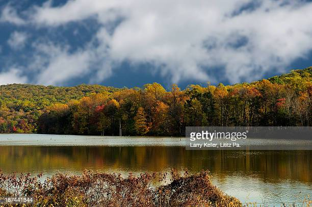 fall on a lake and mountain side - lancaster county pennsylvania stock pictures, royalty-free photos & images