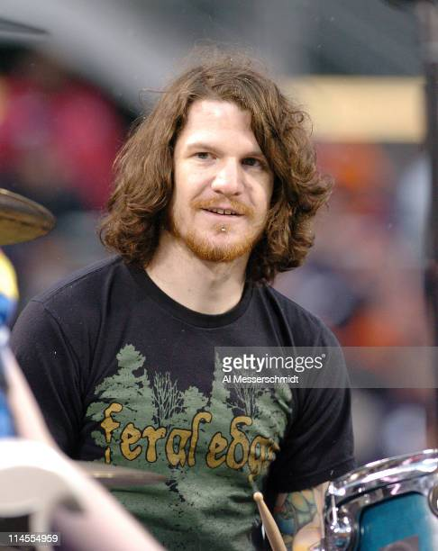 Fall Out Boy performs at half time during the 2007 NFC Championship game between the Chicago Bears and New Orleans Saints at Soldier Field in...