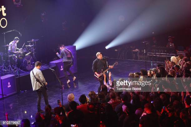Fall Out Boy performs on stage at the iHeartRadio Album Release Party With Fall Out Boy at the iHeartRadio Theater Los Angeles on January 25 2018 in...