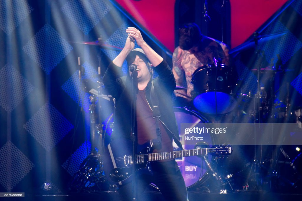 Fall Out Boy performs onstage during the Q102's iHeartRadio Jingle Ball 2017 at the Wells Fargo Center in Philadelphia, PA, on December 6, 2017.