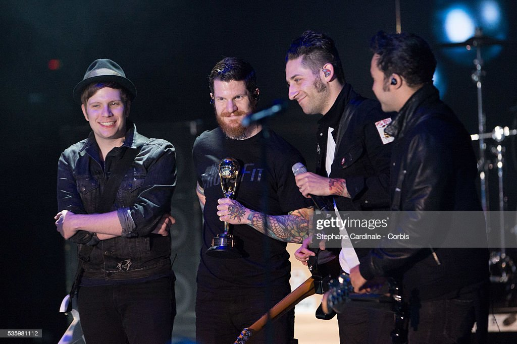 Fall Out Boy receives an Award for Most Voted and Alternative Group during the ceremony of the World Music Awards 2014 at Sporting Monte-Carlo on May 27, 2014 in Monte-Carlo, Monaco.